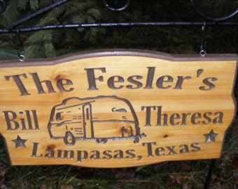 Personalized camp sign    only  Casita camper Northern Cedar Carved Wood Sign    Personalized