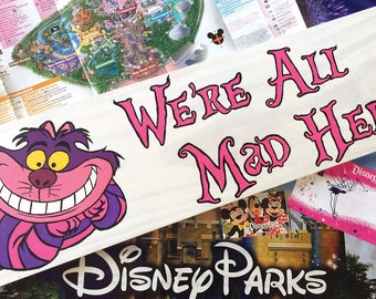 Cheshire Cat Sign|Disney wood Sign|Disney Wooden Sign|Alice in wonderland|Disney Sign|Cheshire Cat|Were all mad here|Disney wedding