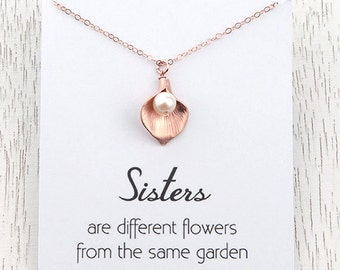 Sisters Rose Gold Necklace, Flower Charm Pearl Necklace, Calla Lily Flower Charm Pendant, Sisters Wedding Gift, Sisters Bridesmaid Gift
