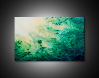 Green wall art - abstract canvas art, large abstract wall art, giclee CANVAS PRINTs, modern art, unique wall art, abstract wall art 19x30