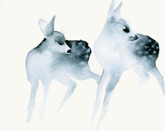 Watercolor Print Ghost Fawns Fine Art Print from Original Watercolor Painting