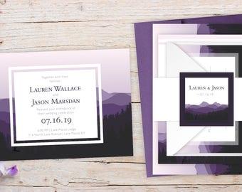 Wedding Invitations - DEPOSIT TO START Mountain Twilight Suite - Winter Wedding Invites - Personalized Wedding Invitations - Wedding Suites