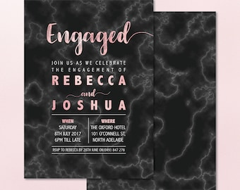 The Black Marble Engagement Invitation