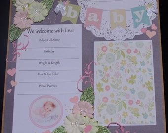 Welcome Baby Girl 12x12 Premade Scrapbook Layout