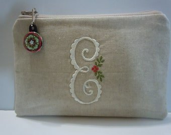 "Purse Toiletry Case - Zipper Pouch for your Personal Items  - Essex Natural Linen with Monogram ""E"""