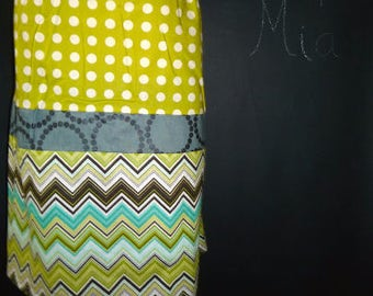 Sample SALE - Will fit Size S/M - Ready to MAIL - Patchwork Pencil SKIRT - Chevron - by Boutique Mia