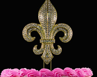 Fleur De Lis Cake Toppers Bling Cake Topper Weddings Mardi Gras Party Large Silver or Gold