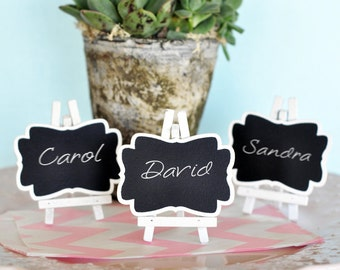 Mini White Frame Vintage Chalkboard Table Place card signs  - (Set of 15)