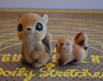 Furry Mom & Baby Squirrel Figurines
