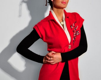 Embroidery Red Vest