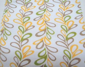 Fabric - Organic Cotton, Vines, Brown, Green, Yellow, Sewing, Quilting, Curtains