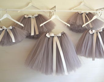 Flower girl dress, girls tutu skirt, grey tutu, birthday tutu, ballet tutu, bridesmaid, wedding tutu baby tutu, flower girl tutu, adult tutu