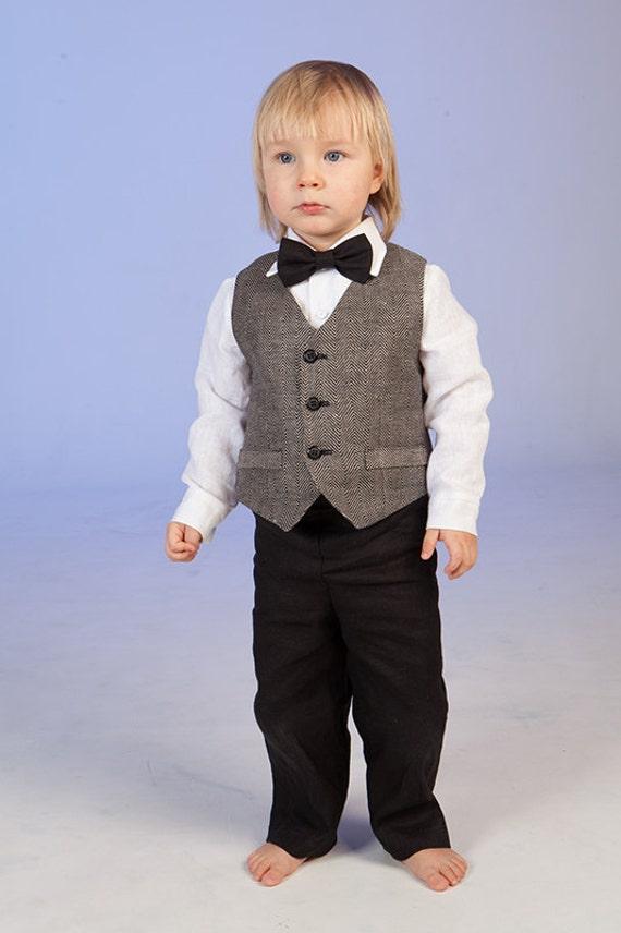 Ring bearer outfit Baby boy linen suit Boy wedding formal wear