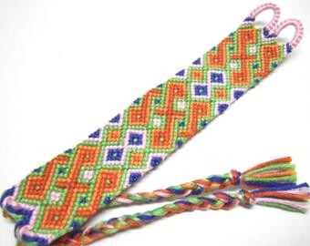 Orange Celtic Twist Friendship Bracelet, Tropical Bracelet, Vibrant Colorful Bracelet, Multicolored Friendship Bracelet, Ombre Gradient Cuff