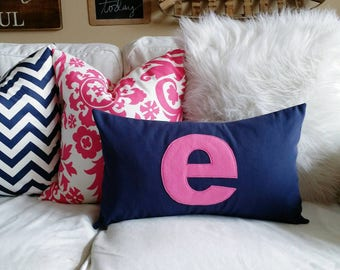 Modern Monogrammed Lumbar Pillow Cover - Solid Navy with Candy Pink Letter
