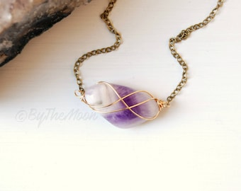 Amethyst Necklace, Purple Stone Necklace, Wire Wrapped Amethyst, Chevron Amethyst, Amethyst Pendant, Gemstone Necklace, Gift Women