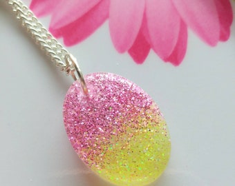 Pink and Yellow Glitter Resin Necklace/resin jewelry/gift for her