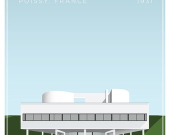 Villa Savoye Le Corbusier Architectural Illustration Giclee Poster Print