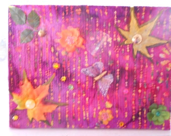Mixed Media Collage Assemblage Art Not Lost fabric leaves found objects butterfly