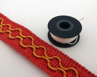 Sewing trim, orange trim, sewing tape, gold trim, fancy trim, upholstery trim, fancy sewing tape, orange and gold, patterned trim