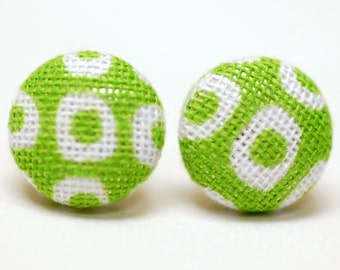 Geometric Green Earrings