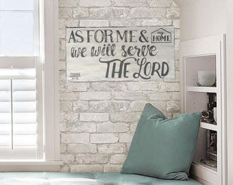 As for Me & My House We Will Serve the Lord Canvas, Home Decor, Gray, Mint, Off-White
