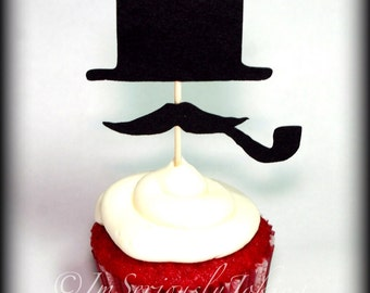 Cupcake Toppers-12 Top Hat and Mustache with Pipe- Little Man Party-Mustache Party-The Gentleman-Mustache Cupcake Toppers-Mustache Theme-