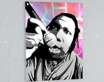 KRS-One Stencil Art Spray Painting, hip hop, street art, large wall art