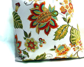 Waverly Fabric Pillow Cover - Floral  Pillow Covers, Fall Decor, Autumn Leaves -Thanksgiving Decor - Decorative Pillow Cover/Ready to Ship