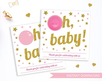 Baby Shower EOS Balm Holder | Oh baby Eos Baby Shower Favors | Baby Shower Pink and Gold | Thank you Favors | EOS Lip Balm Instant download