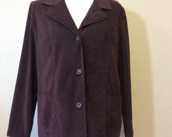 Dark Brown Faux Suede Jacket by Giorgio Sant'Angelo Ladies Size 12, 2 Front Pockets, 3 Buttons Previously 25 Dollars ON SALE