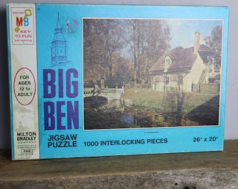 Vintage Jigsaw Puzzle 1970s Milton Bradley Big Ben Series No. 12 Versailles Park 1000 Piece