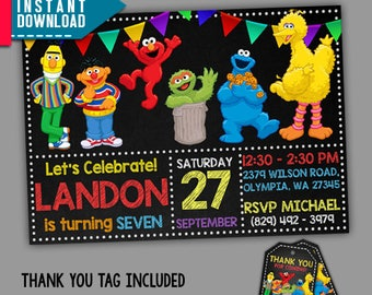 Sesame Street Invitation, Sesame Street Birthday, Sesame, Editable PDF Template, Instant Download, Editable Invitation, FREE Thank You Tags