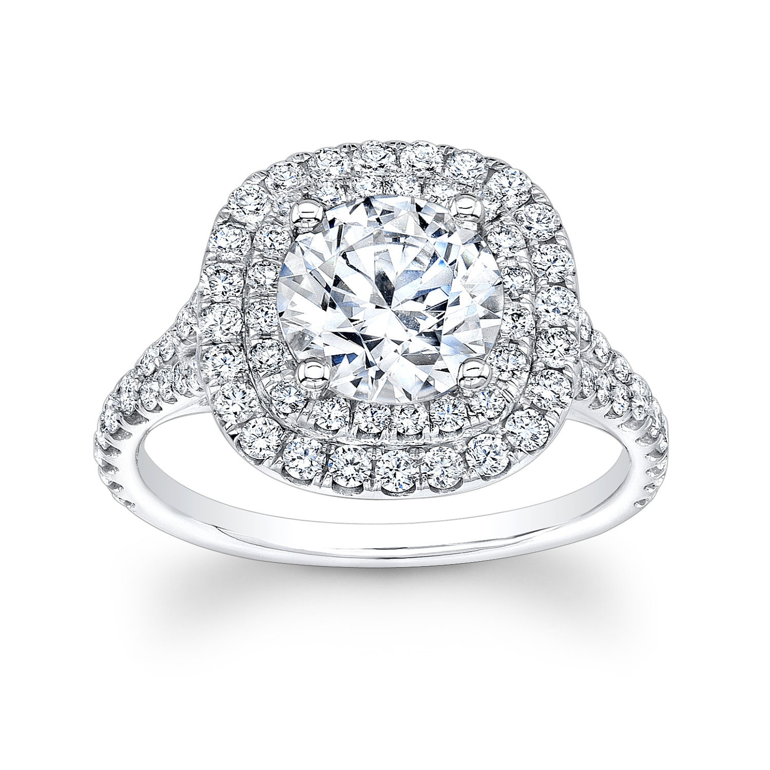 shank double rings stone product with cut pave ring uneek three silhouette engagement cushion platinum