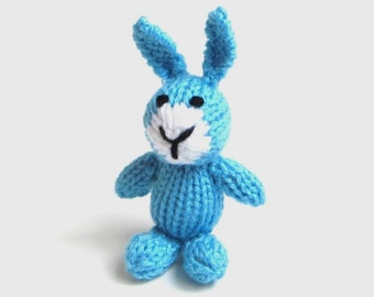 Little Hand Knit Stuffed Animal Bunny Rabbit Doll, Toddler Kids Plush Toy, Pocket Friend Mini Desk Companion, Girl or Boy Baby Shower Gift
