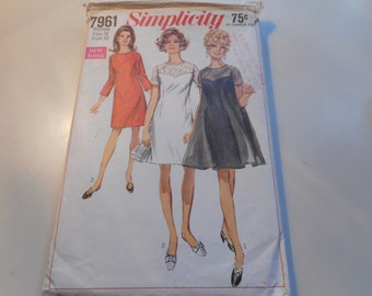 Vintage 1960's Simplicity 7961 Dress Sewing Pattern Size 38 Bust 42
