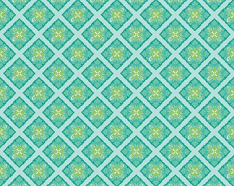 Primavera Tile in Teal Cotton Fabric by Patty Young for Riley Blake
