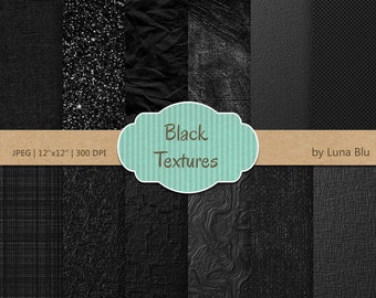 "Textured Digital Paper: ""Black Textures"" black digital paper, textured backgrounds, great for business cards, Instant Download"