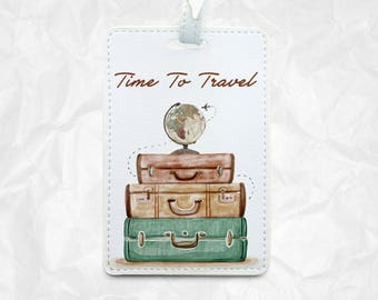 Time to Travel luggage tag Bag tag with Your Name
