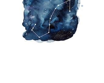 Scorpio Zodiac Constellation Watercolour Illustration (Star Sign)