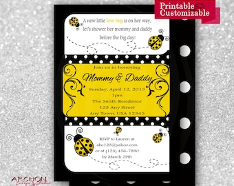 Ladybug Baby Shower Invitation with Polka Dot Back - Yellow, Black, and White Accented - Lady Bug - Printable & Personalized - A-00019-c