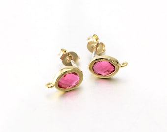 Fuchsia Glass Post Earring . 925 Sterling Silver Post . 16K Polished Gold Plated over Brass / 2 Pcs - CG048-PG-FC