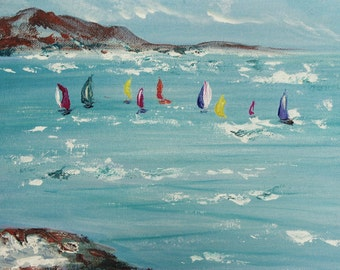 Fine art print.  Antibes Yachts.  Giclee print depicting yachts in Antibes, South of France.  Reproduced from my original acrylic painting.