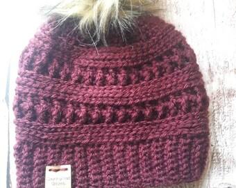 Fur pom pom hat, pom pom beanie, crochet beanie, crochet pom beanie, winter hat, accessories, Burgundy hat, mom life, winter beanie, adult