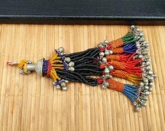 Tassels Beautiful Vintage Multicolor Beaded Jewelry Making Tassels Costume Supplies Tribal Kuchi Baluchi Tassels DIY Findings Dresses Bags.