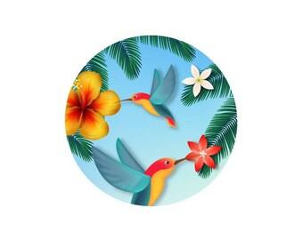 2 cabochons 14 mm glass tropical Hummingbird Duo - 14 mm