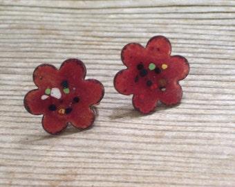 Floral Earrings, Vintage Enamel Copper Earrings, Copper Flower Earrings, Floral Screwback Earrings, Mid Century Copper Jewelry