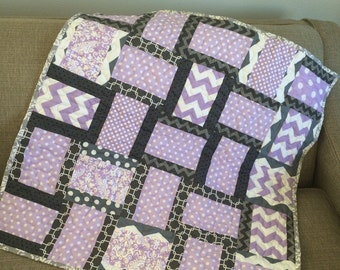 Baby Quilt girl Cotton Quilt Crib Bedding Girl Toddler Quilt Mat For Baby Car Seat Blanket Baby Blanket Girl Picnic Quilt Purple and gray