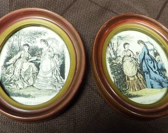 SET Of 2 Vintage Wall Hangings Oval Framed Pictures of Ladies