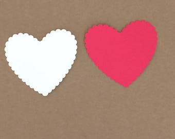 25 Scalloped Heart Die Cuts Paper Craft Embellishment Red and White Colors Set# 7049